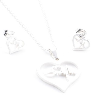 38517-01 SET OF CHAIN, PENDANT AND MATCHING EARRINGS IN STAINLESS STEEL IN SILVER