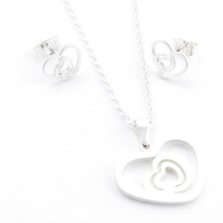 38517-03 SET OF CHAIN, PENDANT AND MATCHING EARRINGS IN STAINLESS STEEL IN SILVER