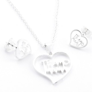 38517-04 SET OF CHAIN, PENDANT AND MATCHING EARRINGS IN STAINLESS STEEL IN SILVER