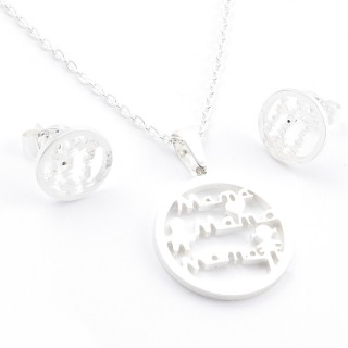 38517-05 SET OF CHAIN, PENDANT AND MATCHING EARRINGS IN STAINLESS STEEL IN SILVER