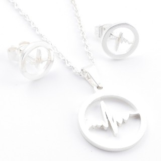 38517-08 SET OF CHAIN, PENDANT AND MATCHING EARRINGS IN STAINLESS STEEL IN SILVER