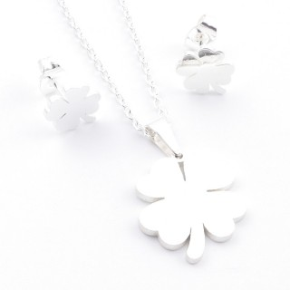 38517-09 SET OF CHAIN, PENDANT AND MATCHING EARRINGS IN STAINLESS STEEL IN SILVER