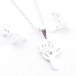 38517-10 SET OF CHAIN, PENDANT AND MATCHING EARRINGS IN STAINLESS STEEL IN SILVER