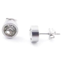 38511-01 STAINLESS STEEL & GLASS 8 MM STUD EARRINGS