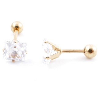 38535-03 GOLD COLOURED STEEL EARRINGS WITH 6,5 MM GLASS STONE