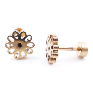 38534-01 GOLD STAINLESS STEEL EARRINGS WITH SCREW BACKS