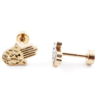 38534-02 GOLD STAINLESS STEEL EARRINGS WITH SCREW BACKS