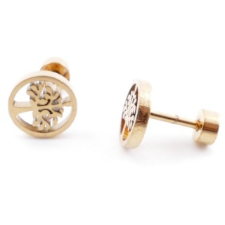 38534-04 GOLD STAINLESS STEEL EARRINGS WITH SCREW BACKS