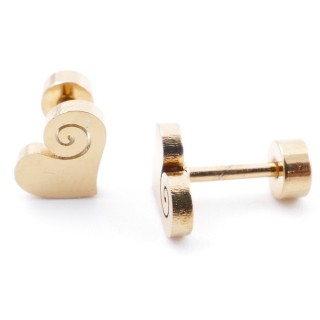 38534-05 GOLD STAINLESS STEEL EARRINGS WITH SCREW BACKS