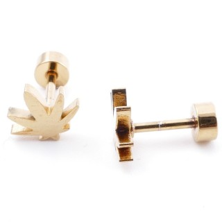 38534-07 GOLD STAINLESS STEEL EARRINGS WITH SCREW BACKS