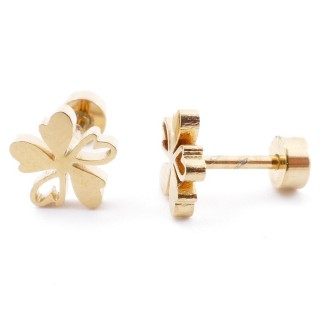38534-11 GOLD STAINLESS STEEL EARRINGS WITH SCREW BACKS