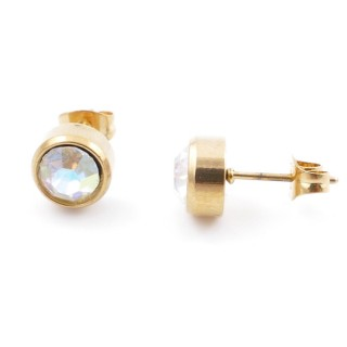 38521-00 GOLD COLOURED STAINLESS STEEL & GLASS 8 MM STUD EARRINGS