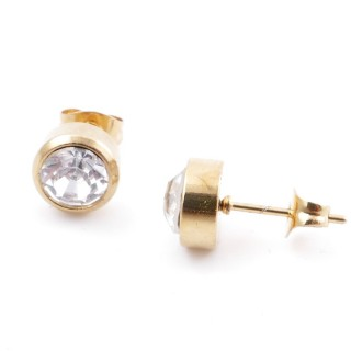 38521-01 GOLD COLOURED STAINLESS STEEL & GLASS 8 MM STUD EARRINGS
