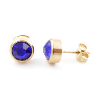 38521-03 GOLD COLOURED STAINLESS STEEL & GLASS 8 MM STUD EARRINGS