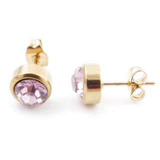 38521-04 GOLD COLOURED STAINLESS STEEL & GLASS 8 MM STUD EARRINGS