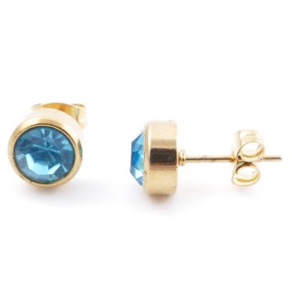 38521-05 GOLD COLOURED STAINLESS STEEL & GLASS 8 MM STUD EARRINGS
