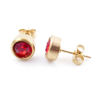 38521-06 GOLD COLOURED STAINLESS STEEL & GLASS 8 MM STUD EARRINGS