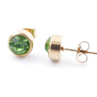 38521-08 GOLD COLOURED STAINLESS STEEL & GLASS 8 MM STUD EARRINGS