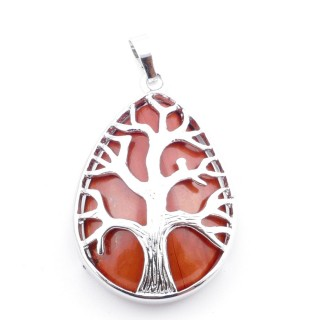 36104-15 TREE OF LIFE 35 X 26 MM PENDANT WITH STONE IN RED JASPER