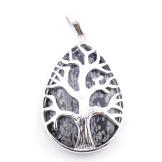 36104-24 TREE OF LIFE 35 X 26 MM PENDANT WITH STONE IN SNOWFLAKE OBSIDIAN