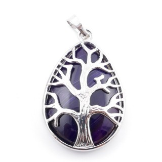 36104-27 TREE OF LIFE 35 X 26 MM PENDANT WITH STONE IN PURPLE AGATE