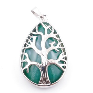 36104-64 TREE OF LIFE 35 X 26 MM PENDANT WITH STONE IN GREEN AGATE