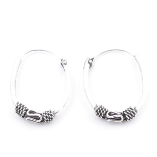 51155 SILVER 925 BALI LOOP EARRINGS. SIZE: 21 X 16 MM