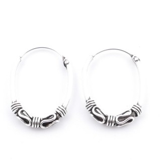 51156 SILVER 925 BALI LOOP EARRINGS. SIZE: 20 X 14 MM