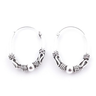 51162 SILVER 925 BALI LOOP EARRINGS. SIZE: 20 X 16 MM