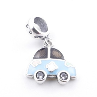 51131-01 CAR SHAPED SILVER & EPOXY BRACELET CHARM 13 X 14 MM