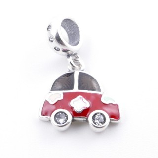 51131-02 CAR SHAPED SILVER & EPOXY BRACELET CHARM 13 X 14 MM