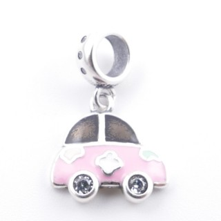 51131-03 CAR SHAPED SILVER & EPOXY BRACELET CHARM 13 X 14 MM