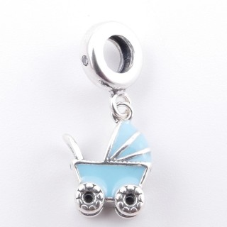 51130 PRAM SHAPED SILVER & EPOXY BRACELET CHARM 12 X 10 MM