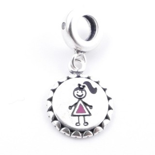51128 STERLING SILVER BRACELET CHARM WITH GIRL SYMBOL 11 MM
