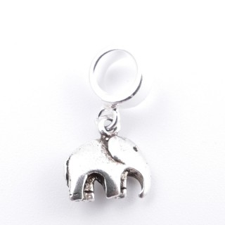 51137 ELEPHANT SHAPED SILVER 925 BRACELET CHARM 9 X 10 MM