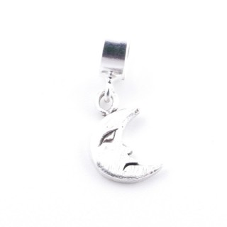 51139 MOON SHAPED SILVER 12 X 7 MM CHARM FOR BRACELET