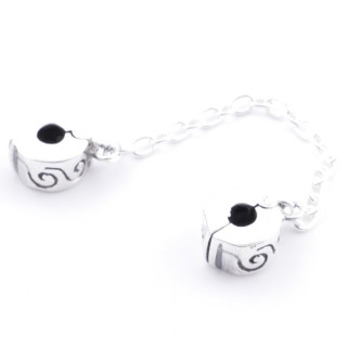 51153 SET OF 2 SILVER 9 MM STOPPER CHARMS WITH 55 MM CHAIN