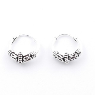 55395 STERLING SILVER BALI DESIGN 10 MM LOOP EARRINGS