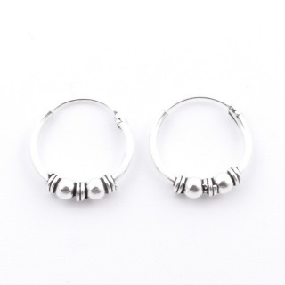 55397 STERLING SILVER BALI DESIGN 14 MM LOOP EARRINGS