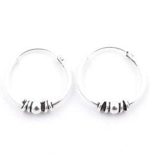 55399 STERLING SILVER BALI DESIGN 16 MM LOOP EARRINGS