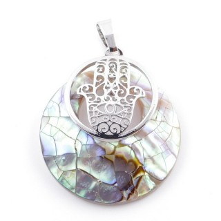 38513-64 MOTHER OF PEARL STONE 28 MM AND HAMSA PENDANT
