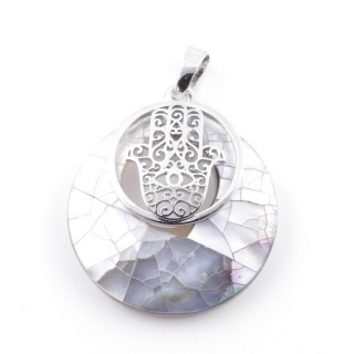 38513-65 MOTHER OF PEARL STONE 28 MM AND HAMSA PENDANT