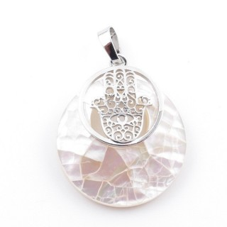 38513-66 MOTHER OF PEARL STONE 28 MM AND HAMSA PENDANT