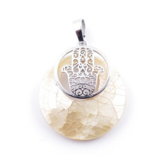 38513-67 MOTHER OF PEARL STONE 28 MM AND HAMSA PENDANT
