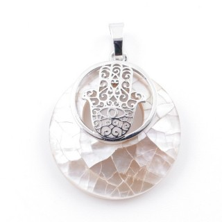 38513-68 MOTHER OF PEARL STONE 28 MM AND HAMSA PENDANT