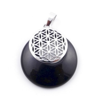38514-04 ONYX STONE 28 MM AND FLOWER OF LIFE PENDANT
