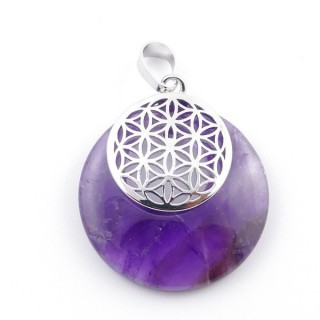 38514-05 AMETHYST STONE 28 MM AND FLOWER OF LIFE PENDANT