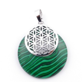 38514-06 MALACHITE STONE 28 MM AND FLOWER OF LIFE PENDANT