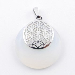 38514-08 OPALINE STONE 28 MM AND FLOWER OF LIFE PENDANT