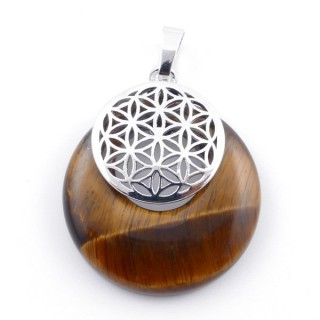 38514-09 TIGER'S EYE STONE 28 MM AND FLOWER OF LIFE PENDANT